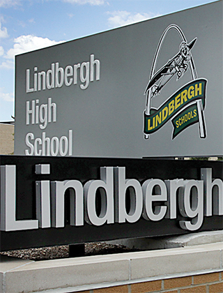 Close up of the monument sign in front of the Lindbergh High School campus