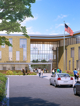 Architectural rendering of the new main entrance at Lindbergh High School