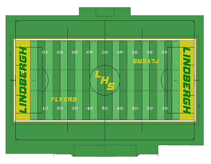 A aerial rendering of the turf installation project at Lindbergh High School