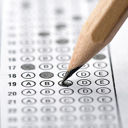 Pencil and multiple choice answer sheet