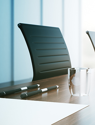 Close up of empty boardroom with chair and table