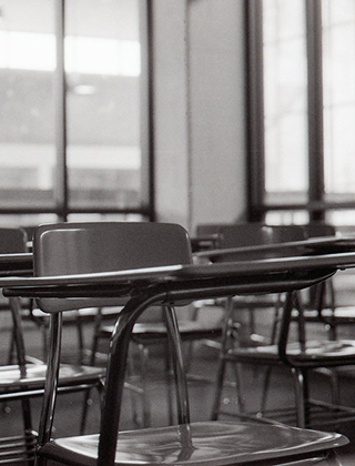 Empty classroom with desks