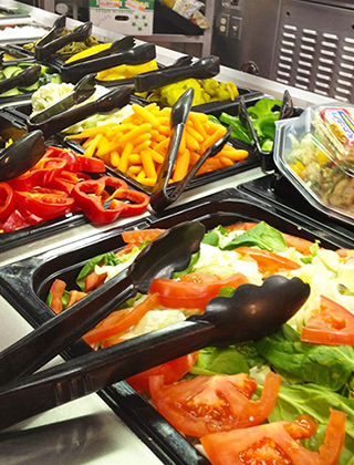 Fresh vegetables in a salad bar