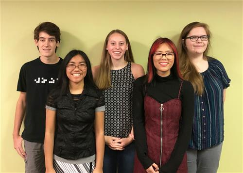 Photo of LHS National Merit Semifinalists, Benjamin Duchild, Justine Gacho, Bayley Helfrich, Grace Duong and Emma Scherrer