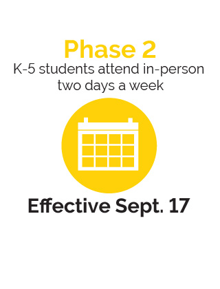 K-5  students will attend in-person two days a week, effective Sept. 17